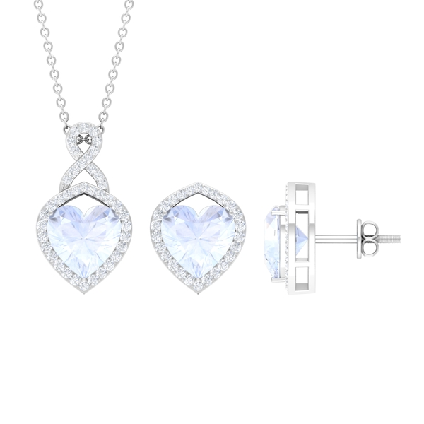 3.50 CT Diamond Infinity Jewelry Set with Heart Shape Moonstone Solitaire