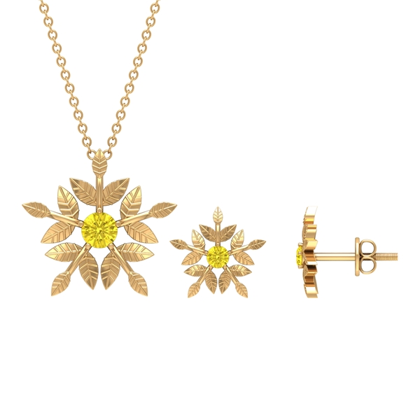 1/2 CT Engraved Gold Floral Yellow Sapphire Jewelry Set