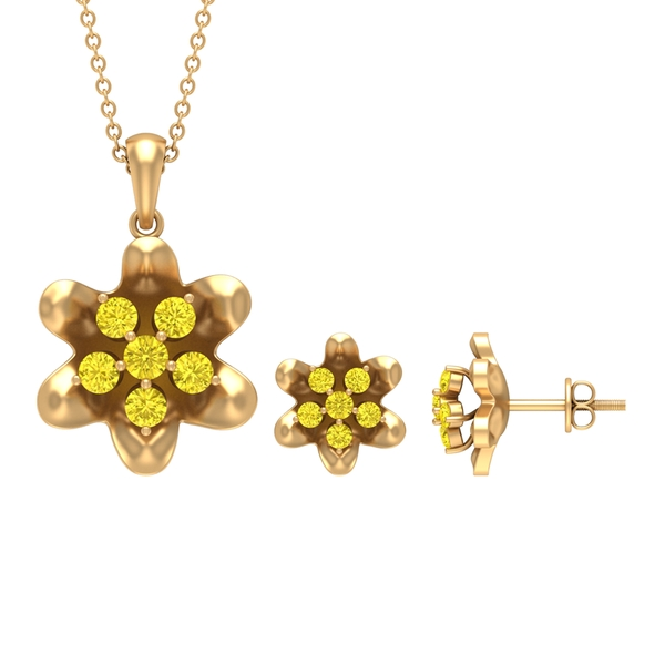 1.25 CT Yellow Sapphire and Simple Flower Jewelry Set for Women