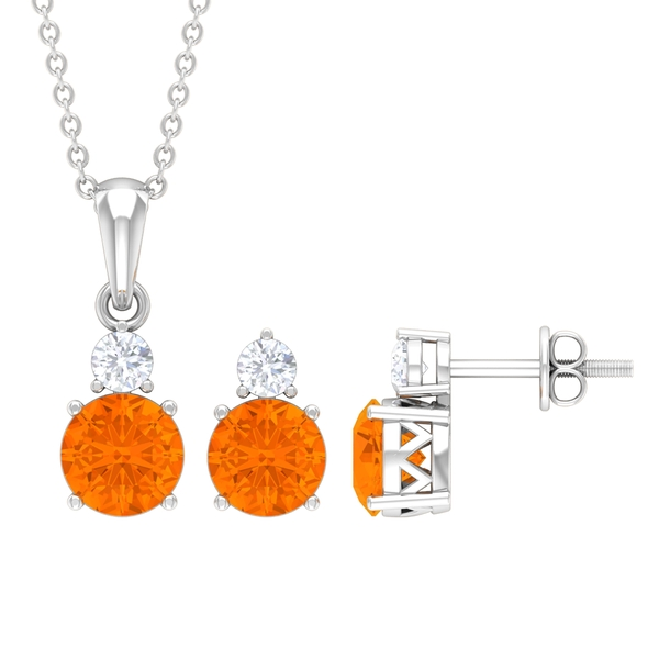 1.50 CT Fire Opal and Moissanite Two Stone Pendant and Earring Set