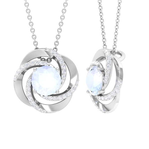 3/4 CT Moonstone Solitaire and Moissanite Half Halo Pendant Necklace
