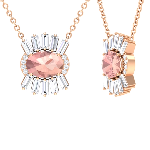 1.25 CT Oval Cut Morganite and Diamond Accent East West Pendant Necklace