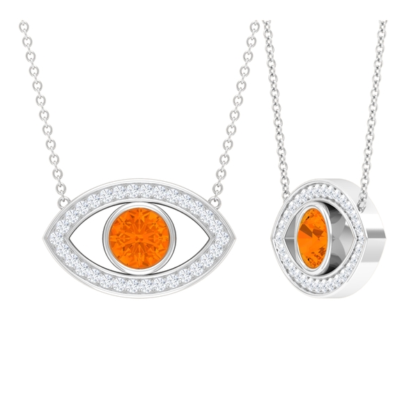 1.25 CT Unique Eye Pendant Necklace with Bezel Set Fire Opal and Moissanite