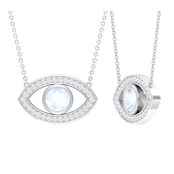 3/4 CT Evil Eye Pendant Necklace with Moonstone and Moissanite