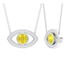 1.25 CT Evil Eye Pendant Necklace with Yellow Sapphire and Moissanite
