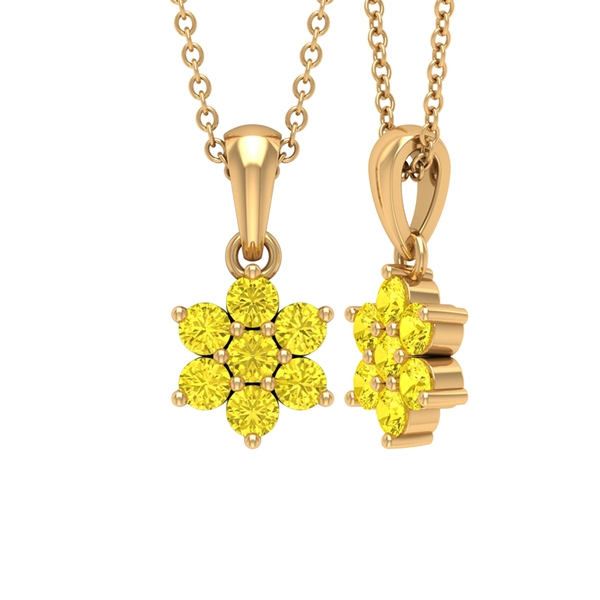 3/4 CT Yellow Sapphire Flower Cluster Pendant Necklace
