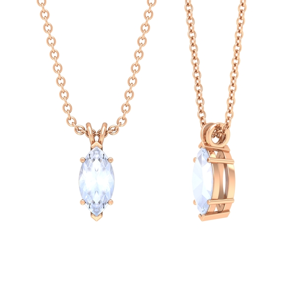 4X8 MM Marquise Cut Moonstone Solitaire Pendant Necklace in Prong Setting