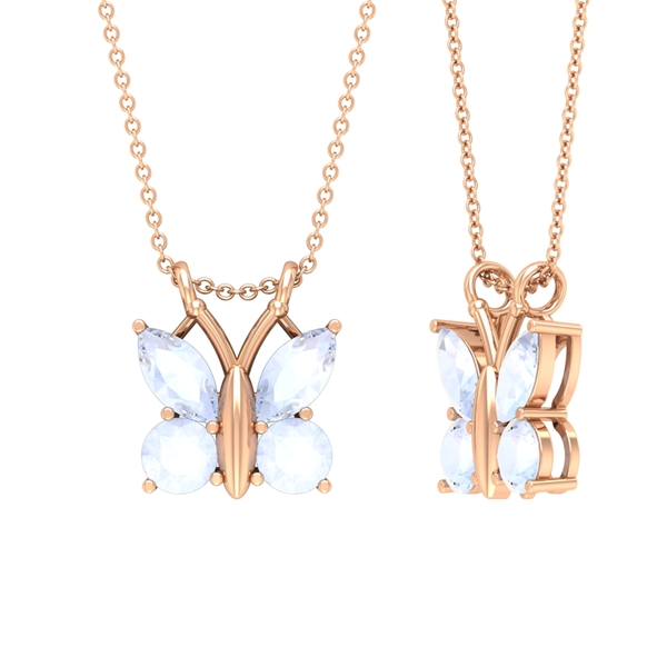 3/4 CT Butterfly Pendant Necklace for Women with Moonstone