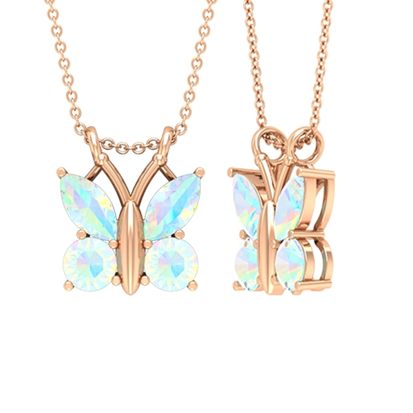 3/4 CT Butterfly Pendant Necklace for Women with Ethiopian Opal