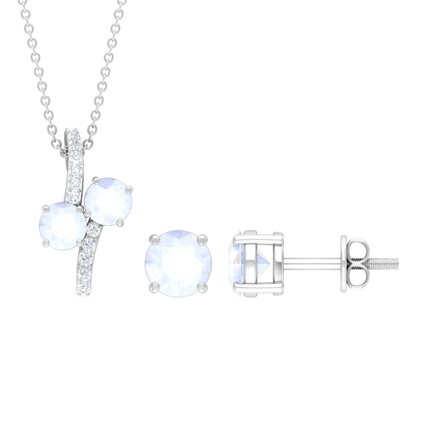 1 CT Minimal Necklace and Earrings Set with Moonstone and Diamond