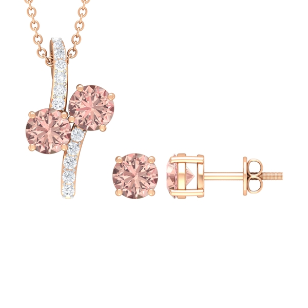 1 CT Minimal Necklace and Earrings Set with Morganite and Diamond