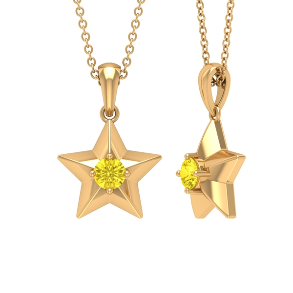 1.50 CT Yellow Sapphire and Gold Star Pendant Necklace