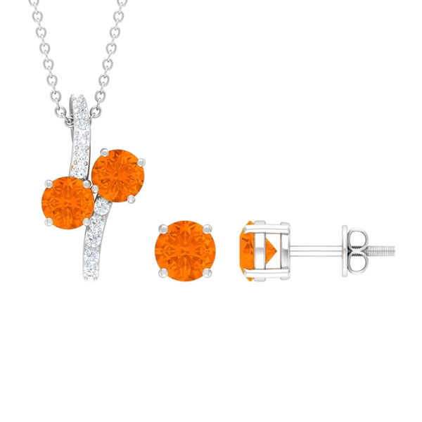 1.75 CT Minimal Necklace Earring Set with Fire Opal and Diamond