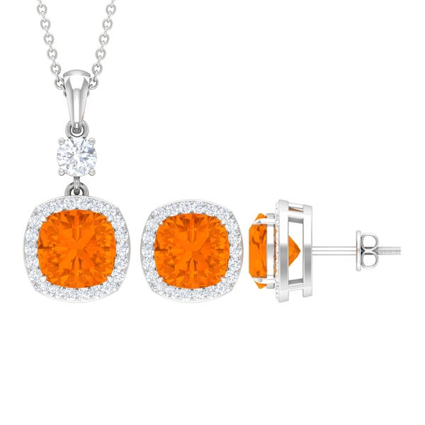 7.25 CT Classic Jewelry Set with Fire Opal Solitaire and Moissanite Halo