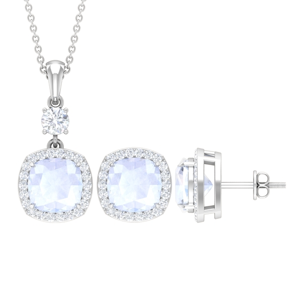 6.50 CT Classic Jewelry Set with Moonstone and Moissanite Halo