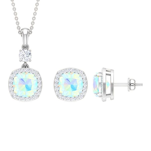 6.50 CT Classic Jewelry Set with Ethiopian Opal and Moissanite Halo