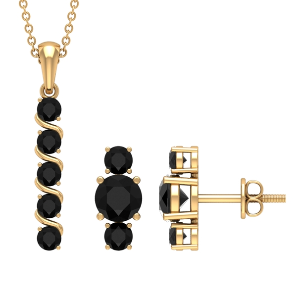 2.25 CT Bar Necklace and Earrings Set with Black Diamond