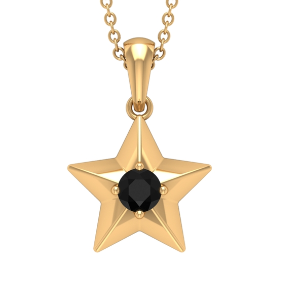 1/4 CT Black Diamond and Gold Star Pendant Necklace