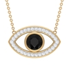 3/4 CT Evil Eye Pendant Necklace with Black Diamond and Moissanite