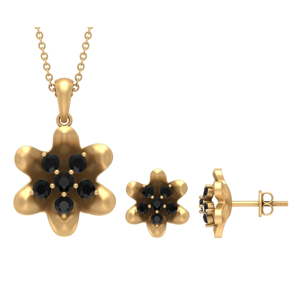 1.25 CT Black Diamond and Simple Flower Jewelry Set for Women