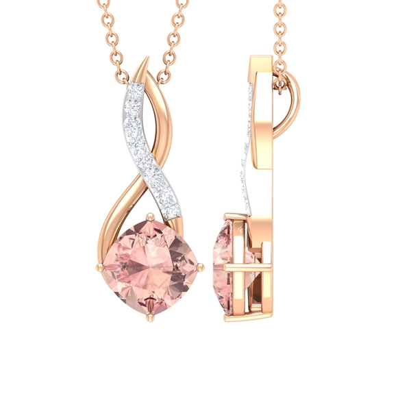 1.50 CT Infinity Pendant Necklace for Women with Cushion Cut Morganite Solitaire and Moissanite