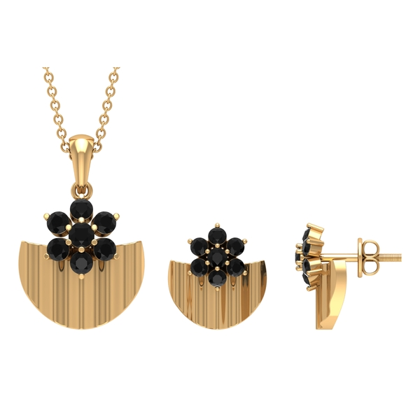1.25 CT Black Diamond Floral Jewelry Set with Gold Disc