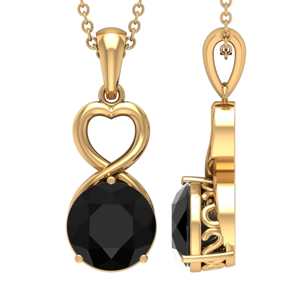 2.25 CT Heart Pendant Necklace with Solitaire Black Diamond