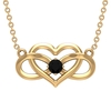 3 MM Heart Infinity Pendant Necklace with Black Diamond