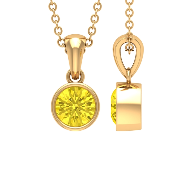 5X5 MM Round Shape Yellow Sapphire Solitaire Pendant in Bezel Setting