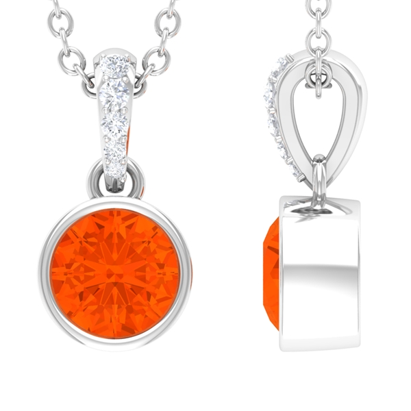 1/4 CT Round Shape Fire Opal and Diamond Solitaire Drop Pendant Necklace