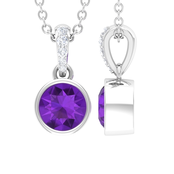 1/2 CT Round Shape Amethyst and Diamond Solitaire Gold Drop Pendant for Women