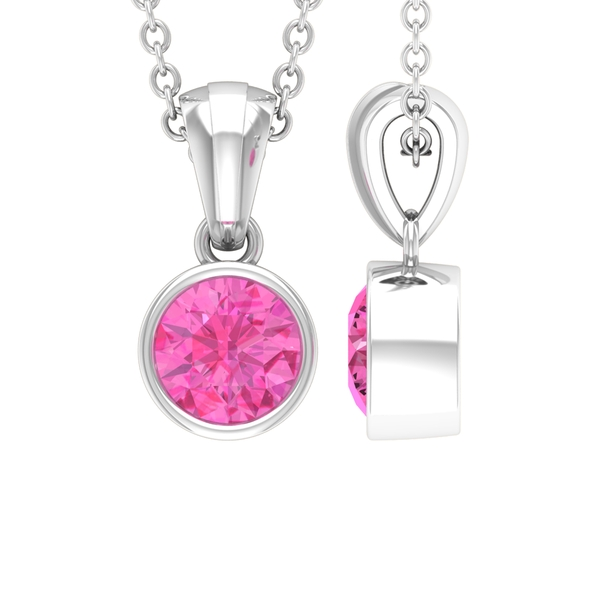 5 MM Bezel Set Round Shape Pink Sapphire Solitaire Pendant with Roundel Bail