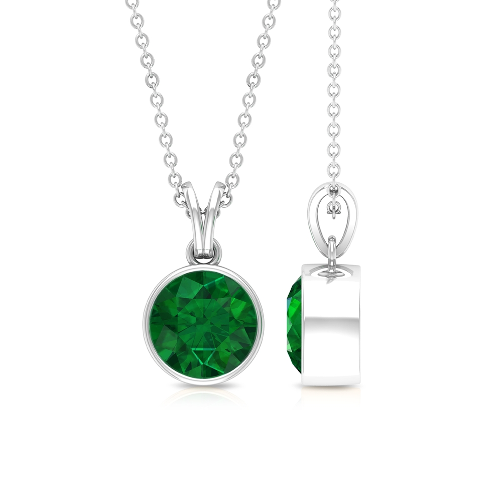 May Birthstone 8 MM Bezel Set Round Cut Solitaire Emerald Pendant with Rabbit Ear Bail