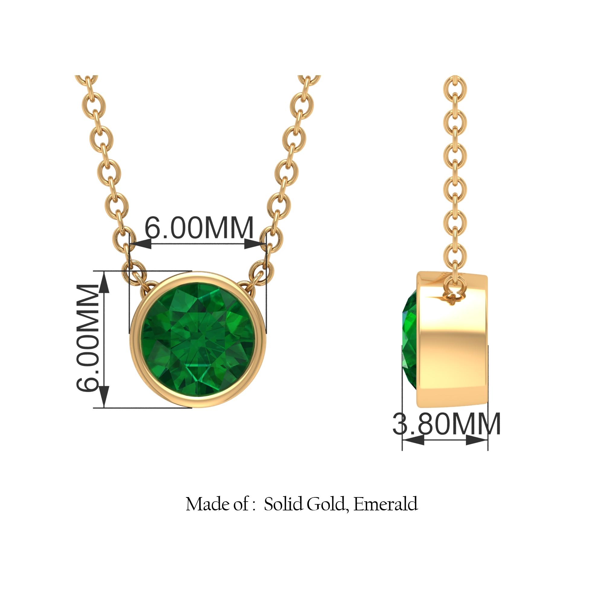 May Birthstone 5 MM Bezel Set Round Cut Solitaire Emerald Necklace