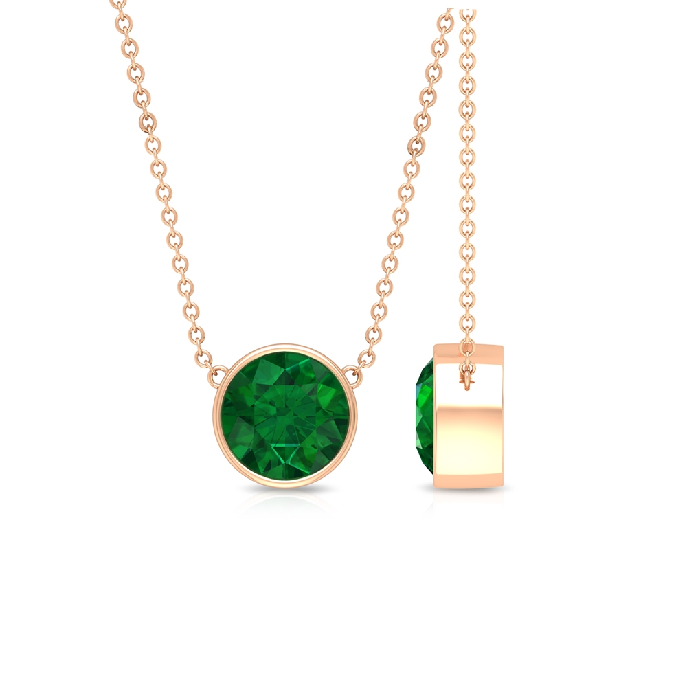 May Birthstone 8 MM Bezel Set Round Cut Solitaire Emerald Necklace with Chain