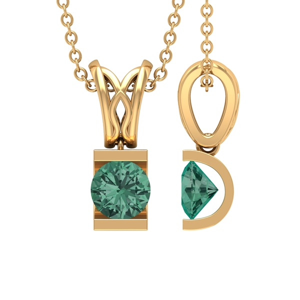 5X5 MM Round Shape Green Sapphire Solitaire Pendant in Bar Setting