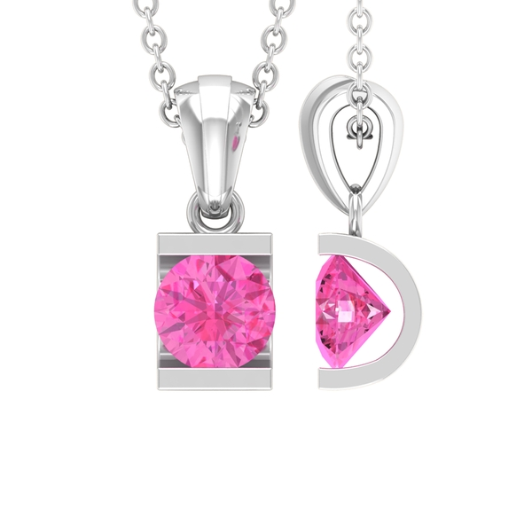 5 MM Bar Set Round Shape Pink Sapphire Solitaire Pendant with Roundel Bail