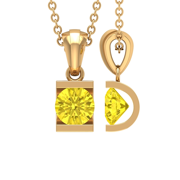 5X5 MM Round Shape Yellow Sapphire Solitaire Pendant in Bar Setting for Women