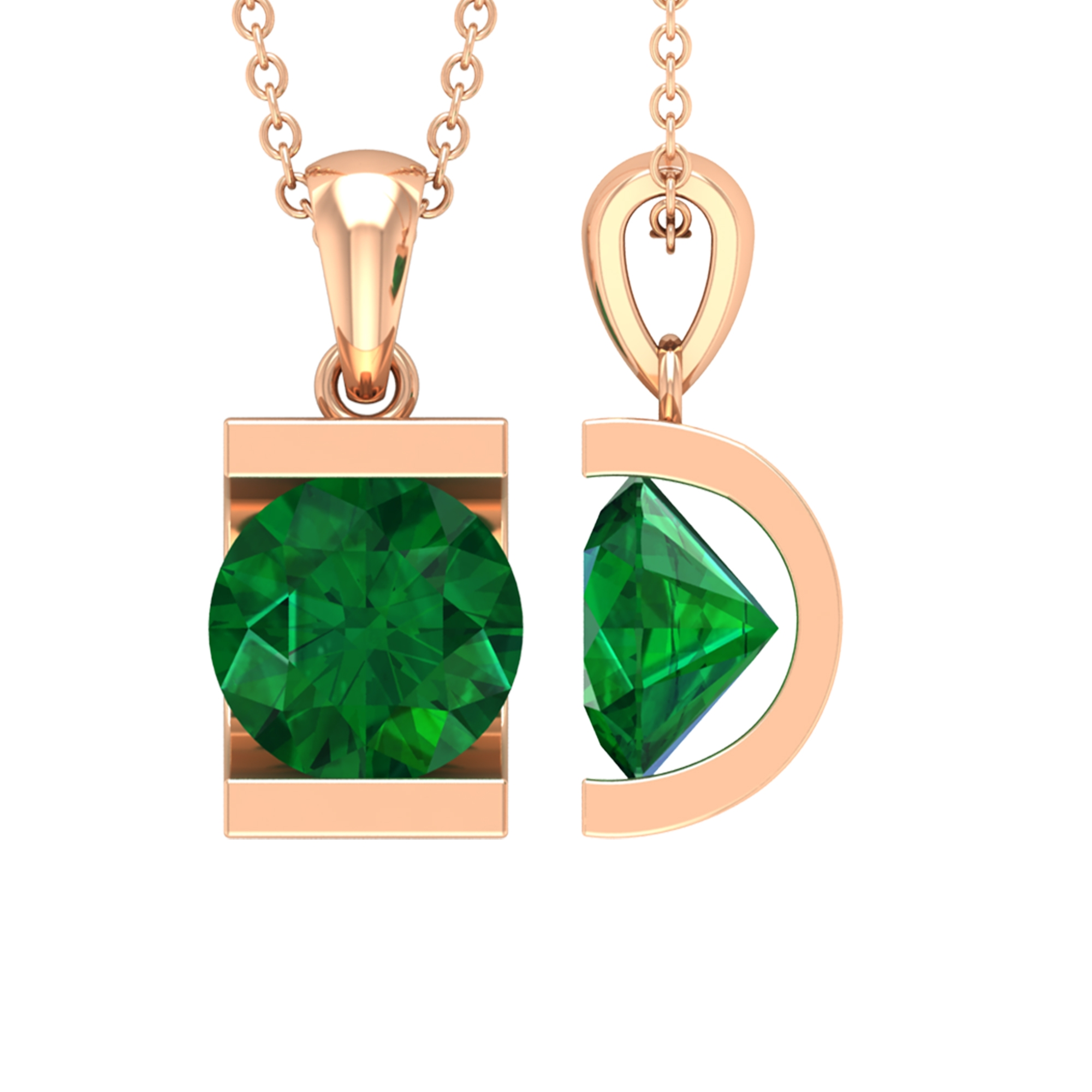 May Birthstone 8 MM Bar Set Round Cut Solitaire Emerald Pendant