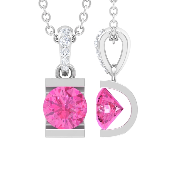 5 MM Bar Set Round Shape Pink Sapphire Solitaire Pendant with Diamond