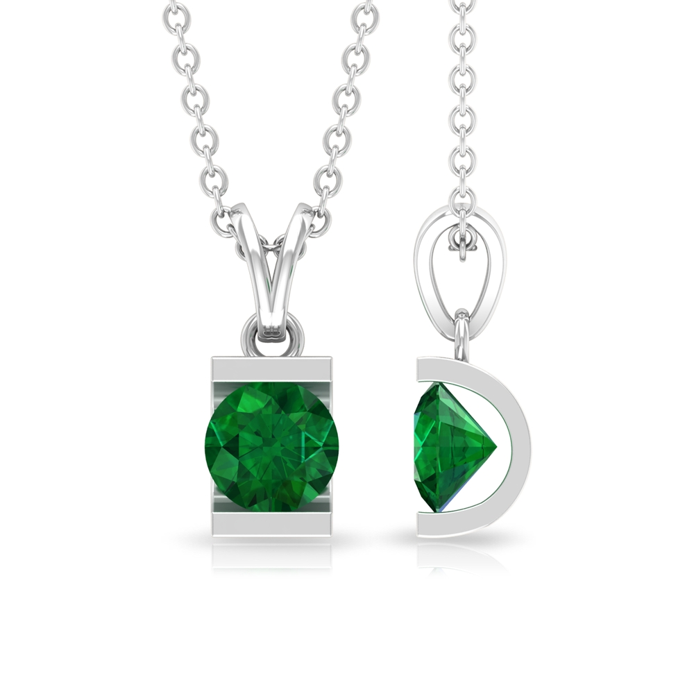 May Birthstone 5 MM Bar Set Round Cut Solitaire Emerald Pendant with Rabbit Ear Bail