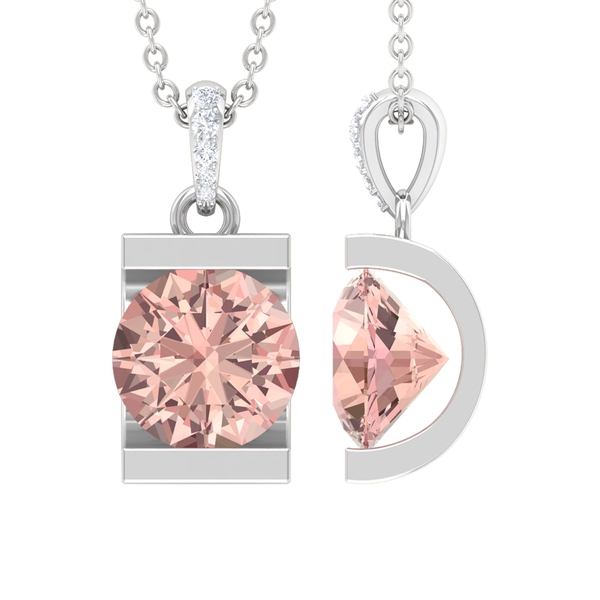1 CT Bar Set Morganite Solitaire and Moissanite Accent Bail Pendant Necklace