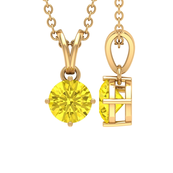 5 MM Round Cut Yellow Sapphire Solitaire Pendant in 4 Prong Setting with Rabbit Ear Bail