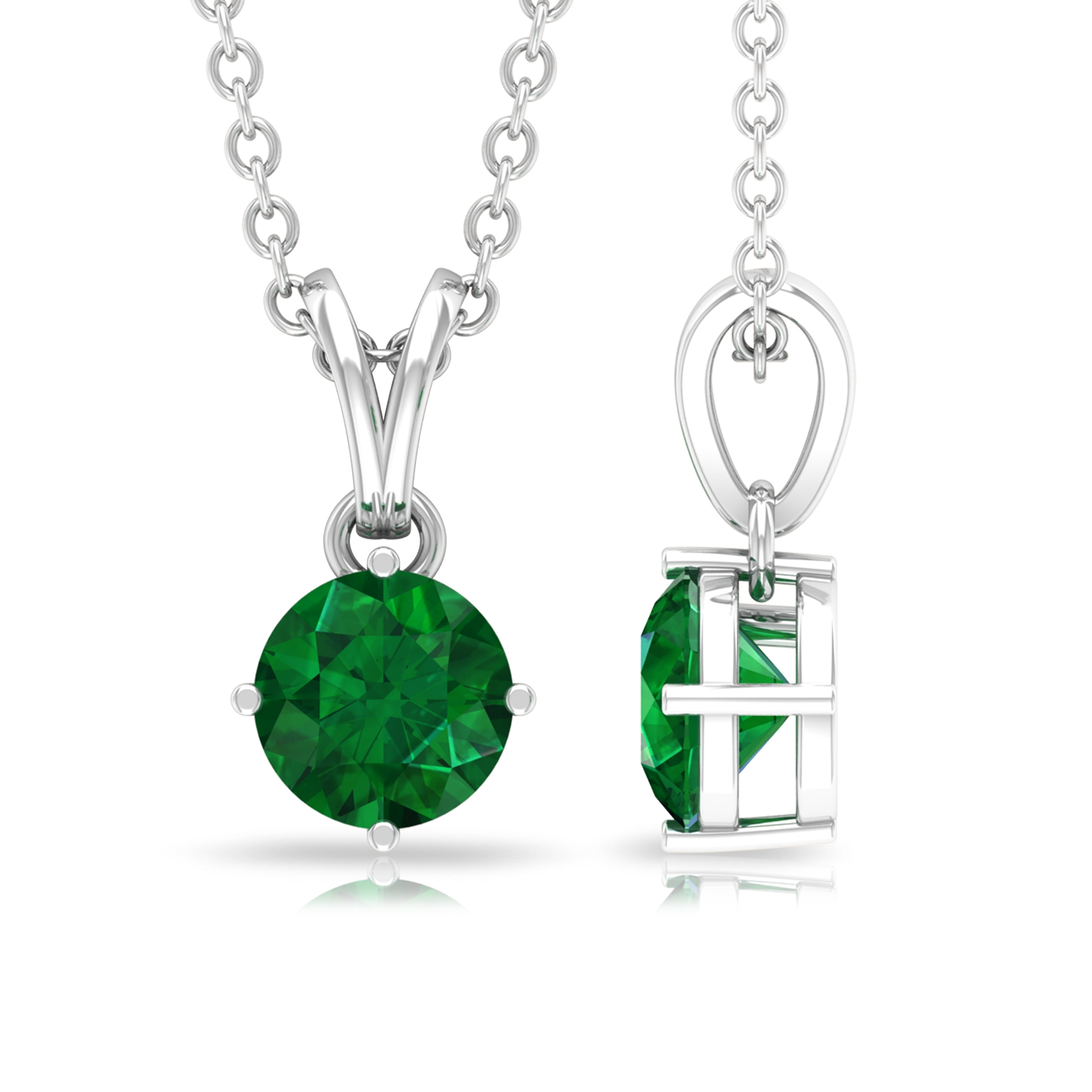May Birthstone 8 MM Four Prong Diagonal Set Round Cut Solitaire Emerald Pendant with Rabbit Ear Bail
