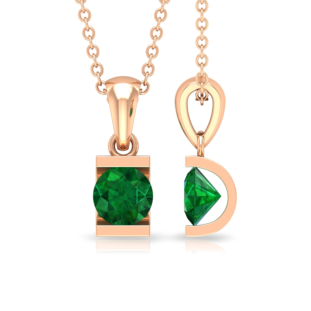 May Birthstone 8 MM Bar Set Solitaire Emerald Pendant