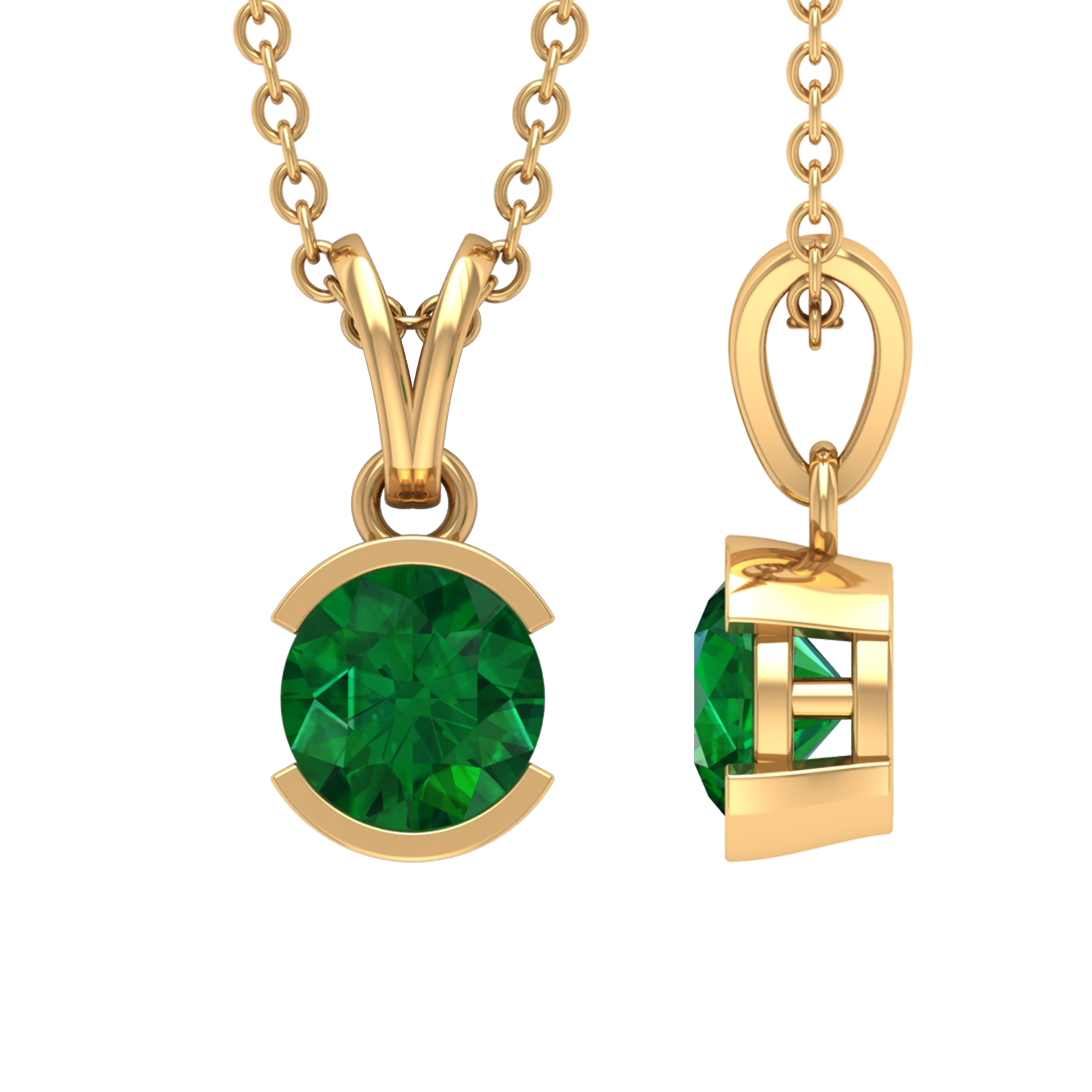 May Birthstone 5 MM Half Bezel Set Round Cut Solitaire Emerald Pendant with Rabbit Ear Bail