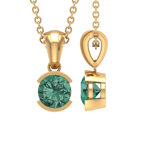 5X5 MM Round Shape Green Sapphire Solitaire Pendant in Half Bezel Setting
