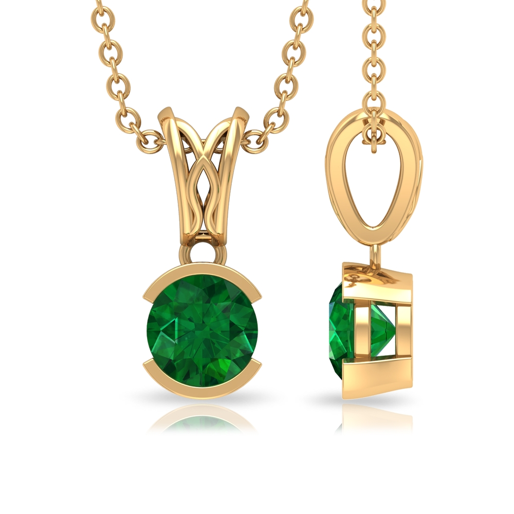 May Birthstone 5 MM Half Bezel Set Round Cut Solitaire Emerald Pendant with Decorative Bail