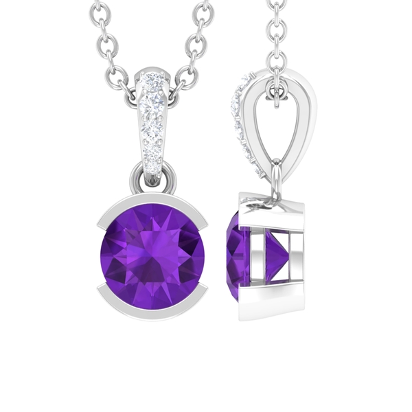 8X8 MM Round Shape Amethyst and Diamond Solitaire Drop Pendant Necklace