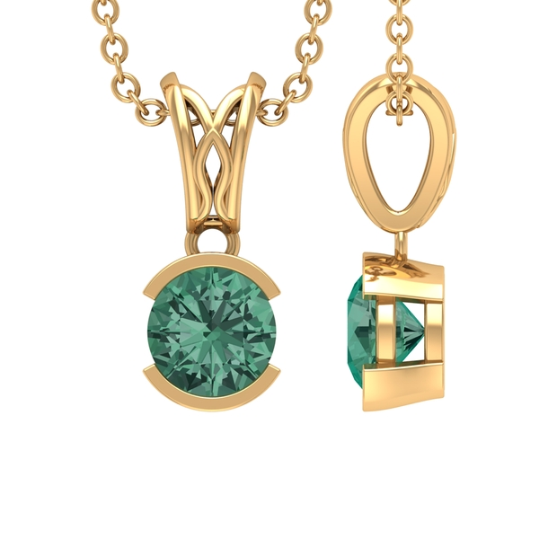 5 MM Round Shape Green Sapphire Pendant in Half Bezel Setting with Decorative Bail